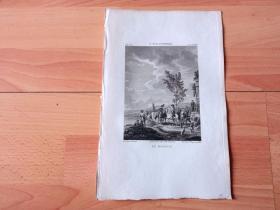 1814年铜版画《驯马师》(LE MANEGE)-- 出自17世纪荷兰黄金时代最成功、最有成就的马匹画家,菲利普斯·沃夫曼(Philips Wouwerman,1619-1668)的油画作品,藏于巴黎卢浮宫 -- 选自《法国博物馆藏画集,编号81》-- 版画纸张27*17.5厘米