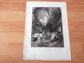 【透纳】1880年钢版画《笼中之雀》(THE BIRDCAGE)-- 出自英国浪漫主义画家,西方艺术史最杰出的风景画家,威廉·透纳(William Turner)的油画,藏于英国泰特美术馆 -- 取材于13世纪意大利文艺复兴时期诗人,乔万尼·薄伽丘名著《十日谈》场景,描绘中世纪黑暗宗教礼法压迫下,一群年轻舞女形象;画作无情暴露和鞭挞封建贵族的堕落和腐败 -- 选自透纳画廊-- 版画36*27厘米