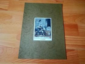 【中国摄影版画】1900年木刻版画《中国清代的街头鞋匠》(Ein Hlick Schuster)-- 依据著名苏格兰摄影家,约翰·汤姆森(John Thomson)所拍摄照片而制作雕刻 -- 德国出版《中国历史百科》 -- 后附卡纸30*21厘米,版画纸张12*9厘米