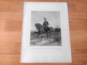 1883年铜版蚀刻版画《匈牙利民族解放战争中,驻守在奥匈边境的匈牙利皇家军队指挥官》(STABS-OFFIZIER DER KONIGL UNGARISCHEN LANDWEHR(HONVED))-- 出自法国军事题材画家,让·巴普蒂斯特·爱德华·德塔耶(Edouard Jean Baptiste Detaille,1848-1912)油画 -- 维也纳艺术画廊出版 -- 版画纸张39*30厘米