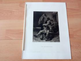 1884年铜版蚀刻版画《酒馆内的音乐家》(DER GEIGENSPIELER)-- 出自17世纪著名佛兰德斯风俗画家,荷兰美术流派的创立者,阿德里安·布鲁维尔(Adriaen Brouwer,1605-1638)的绘画作品,雕刻师:W.ROHR -- 奥地利维也纳艺术画廊出版 -- 版画纸张38*29厘米