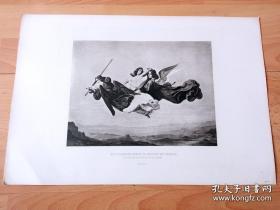 1884年照相凹版《凯瑟琳被天使带往天国》(ST CATHERINE BORNE TO HEAVEN BY ANGELS)-- 出自19世纪德国画家,Karl Anton Heinrich Mucke(1806–1891)的油画作品 -- 美国Gebbie艺术公司出版 -- 版画纸张43*30厘米