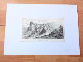 19世纪木刻版画《中世纪建筑瑰宝:里格斯堡城堡,奥地利施泰尔马克州》(Die Riegersburg in Steiermark)-- 里格斯堡耸立在482米高的陡峭火山岩上,俯瞰东部的施泰尔马克山丘;里格斯堡于公元1138年首次出现在历史文献,但它的确切建造年代一直是迷;几个世纪以来没有人能够攻破这座城池,即使在今天它的雄伟外观也令人叹为观止 -- 后附卡纸30*21厘米,版画纸张18*10厘米