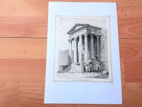 19世纪木刻版画《古罗马建筑瑰宝:古罗马奥古斯都神庙,位于今克罗地亚》(Tempel der Roma und des Augustus in Pola)-- 罗马皇帝奥古斯都神庙位于克罗地亚著名港口城市普拉(Pula),修建于公元前2年至14年,距今已有2000年历史,它和法国尼姆的古罗马方形神殿并列为意大利本土之外保存最完好的古罗马纪念建筑 -- 后附卡纸30*21厘米,版画纸张20*17厘米