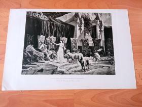 1892年铜凹版腐蚀《女巫喀耳刻(瑟西)杀死尤利西斯的同伴》(CIRCE AND THE COMPANIONS OF ULYSSES)-- 出自法国画家,Henri Paul Motte(1846–1922)油画 -- 喀耳刻(瑟西)是古希腊传说中最强大的女法师,为了留下尤利西斯(特洛伊战争的英雄)不惜杀了他的手下,好让尤里西斯跟她一样孤单 -- 选自传奇史诗《特洛伊战争》-- 版画42*28厘米