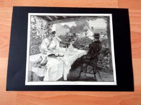 19世纪木刻版画《画家的梦境》(Traumerei)-- 出自19世纪著名法国画家,让·保尔·西尼巴尔蒂(Jean-Paul Sinibaldi,1857-1909)的绘画作品 -- 后附卡纸30*21厘米,版画纸张21*18厘米