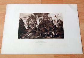 1884年照相凹版《埃及艳后的尼罗河狩猎》(NILE-HUNT)-- 出自19世纪著名奥地利学院派画家,汉斯·马卡特(Hans Makart,1840-1884)作于1876年的油画,藏于美景宫美术馆 -- 画作描绘埃及艳后,克利奥帕特拉七世的船队在尼罗河上狩猎的盛大场景 -- 版画纸张43*30厘米