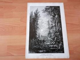 1884年大幅木刻版画《夕阳下的森林女王》(Die Grabstatte der Konigin Wakdlieb)-- 出自19世纪奥地利风景画家,阿尔伯特·里格(Albert Rieger,1834-1905)的油画作品-- 取材于19世纪著名学者格林兄弟的童话故事《睡美人》,格林两兄弟是德国19世纪著名的历史学家,语言学家,民间故事和古老传说的搜集者 -- 版画纸张42*28厘米