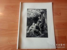 1878年珂罗版版画《世界名画欣赏:斯科德拉Virgin像(又名Virgin的碗)》(RUHE AUF DER FLUCHT NACH EGYPTEN,Madonna della scodella)-- 出自文艺复兴时期著名意大利画家,柯雷乔(Antonio Correggio)作于1525年的油画 -- 画作描绘前往埃及避难时的场景 -- 斯图加特出版《经典绘画作品集》 -- 版画45*32厘米