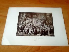 1884年照相凹版《尼禄的火炬》(Nero persecuting the christians)-- 出自德国现实主义画家,威廉·冯·考尔巴赫(Wilhelm von Kaulbach,1805-1874)油画 -- 描绘罗马皇帝尼禄(公元37-68年)用火刑迫害基督徒的情景;迫害发生于公元64年的那场大火之后;尼禄被普遍认为应对大火负责,而他需要找些替罪羊来给他背黑锅 -- 版画43*30厘米