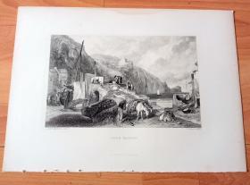 【透纳】1880年钢版画《风景画:风景如画的库姆马丁海滩》(COMB MARTIN)-- 出自西方艺术史最杰出的风景画家,威廉·透纳(William Turner)的油画作品 -- 库姆马丁海滩位于英格兰德文郡北部海岸,海滩坐落着世外桃源般的山谷小镇库姆马丁(Combe Martin),海滩两侧被英格兰最高的海崖夹裹,构成了这片海岸独特而隽美的自然风貌 -- 选自透纳画廊 -- 版画36*27厘米