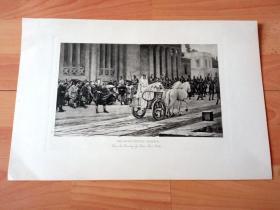 1892年铜凹版腐蚀《圣洁的维斯塔贞女》(THE HEAD VESTAL PASSES)-- 出自19世纪法国画家,亨利·保罗·莫特(Henri Paul Motte,1846–1922)油画 -- 维斯塔贞女是古罗马炉灶和家庭女神维斯塔的女祭司,其年龄介于六至十岁间,必须守贞、侍奉神祇至少三十年 -- 选自传奇史诗《特洛伊战争》-- 维也纳艺术画廊出版发行 -- 版画纸张42*28厘米