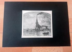 19世纪木刻版画《世界著名灯塔系列:法罗斯岛灯塔(亚历山大灯塔,世界著名的八大奇迹之一)》(Pharos of Alexandria)-- 亚历山大灯塔是世界著名的八大奇迹之一,遗址在埃及亚历山大城边的法罗斯岛上;灯塔约在公元前280~278年建成,是由埃及法老托勒密二世下令在最大港口的入口处修建的导航灯塔,巍然屹立在亚历山大港外1500年 -- 后附卡纸30*21厘米,版画纸张14*12.5厘米