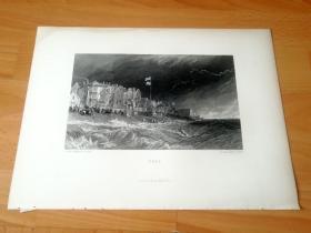 【透纳】1880年钢版画《黑斯廷斯的黑市》(DEAL)-- 出自英国浪漫主义风景画家,西方艺术史最伟大的风景画家之一,威廉·透纳(William Turner)作于1811年的油画 -- 画作描绘的是多佛尔海峡港口黑斯廷斯,黑市上的走私者;在十八世纪到十九世纪的早期,黑斯廷斯是个臭名昭著的走私中心,直到维多利亚时代这里才变成了一个海滨圣地 -- 版画35.5*26厘米,大版幅,品相一级