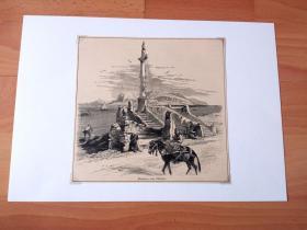 19世纪木刻版画《风景画:巴勒莫湾的蒙德罗海滩与Virgin升天雕像,意大利西西里岛》(Madonna,near Palermo)-- 蒙德罗(Mondello)位于意大利西西里岛东部,巴勒莫海港的背风处,是个宜人的海港,这里的海滩尤其出名 -- 后附卡纸30*21厘米,版画纸张17*16.5厘米