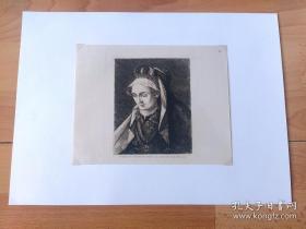 1891年铜版蚀刻版画《文艺复兴艺术大师作品:圣以利沙伯的赞美(施洗约翰的母亲)》(Brustbild der Gemalin des Johann von Leiden)-- 出自著名弗兰德斯画家,老弗朗西斯·弗洛里斯(Franz Florisr,1519–1570)油画 -- 维也纳艺术画廊出版 -- 后附卡纸34*25厘米,版画纸张20*16厘米