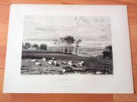 【透纳】1880年钢版画《风景画:海岸田园,佩文西海湾》(PEVENSEY BAY)-- 出自英国浪漫主义画家,西方艺术史最杰出的风景画家,威廉·透纳(William Turner)的水彩画作品 -- 画作描绘位于英格兰东南部,东萨塞克斯郡(伊斯特本)的东南沿海,佩文西湾的乡村田园风光,画面远方是茫茫的英吉利海峡 -- 选自透纳画廊 -- 版画36*27厘米