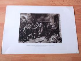 """1884年照相凹版《巴伐利亚传奇英雄史诗:1705年巴伐利亚民族起义,""""科赫尔的铁匠""""领导巴伐利亚农民军进攻慕尼黑红塔城门,反抗奥地利哈布斯堡王朝占领者》(STORMING OF THE RED TOWER BY THE SMITH OF KOCHEL)-- 出自奥地利画家,弗朗兹·冯·德弗雷格(Franz von Defregger,1835-1921)油画 -- 版画纸张43*30厘米"""