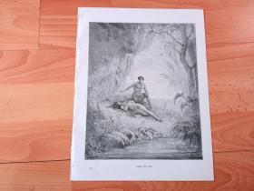 1883年木口木刻版画《亚当夏娃在伊甸园》(ADAM AND EVE)-- 出自19世纪著名法国版画家、雕刻家和插图作家,古斯塔夫·多雷(Gustave Doré,1832-1883)的绘画作品 -- 版画纸张31*24厘米