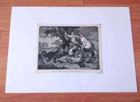 19世纪木刻版画《荷兰黄金时代大师作品:牧神与仙女》(FAUN AND MYMPH)-- 出自17世纪佛兰德巴洛克派画家,科尼利斯·德·沃斯(Cornelis de Vos,1584-1651)的油画作品 -- 画作描绘古希腊神话中,半人半兽的牧神潘,在林中与宁芙仙女嬉戏的场景 -- 后附卡纸30*21厘米,版画纸张15.5*12厘米