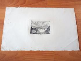 """1778年铜版蚀刻版画《卢塞恩湖的湖光山色,瑞士》(Am Vierwaldstetter See)-- 选自18世纪著名瑞士诗人和画家,所罗门·格斯纳(Salomon Gessner,1730–1788)的田园诗系列作品 -- 琉森湖位于瑞士的阿尔卑斯山下,(德语称琉森湖,即""""四森林州湖""""),是瑞士的第四大湖;卢塞恩湖被瑞吉山和皮拉图斯山等阿尔卑斯山脉环绕 -- 版画纸张43*25厘米"""