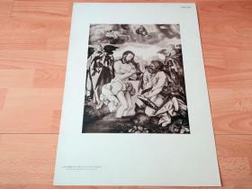 【图版29】1923年胶印版画《受洗图》(DIE TAUFE CHRISTI)-- 出自文艺复兴德国画家,艺术大师最杰出的弟子,汉斯·巴尔东·格里恩(Hans Baldung Grien,1484–1545)作于1520年的祭坛画,藏于德国法兰克福历史博物馆(Historisches Museum) -- 法兰克福施泰德美术馆出版,版画纸张58*42厘米 -- 不考虑成本的豪华制作