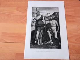 1892年铜凹版腐蚀《波塞冬与雅典娜争夺雅典城》(NEPTUNE AND PALLAS)-- 出自16世纪意大利文艺复兴后期,费拉拉画派画家,加罗法洛(Benvenuto Tisi da Garofalo)作于1512年的油画,藏于德累斯顿历代大师画廊 -- 画作描绘了波塞冬和雅典娜竞争雅典城守护神的场景 -- 选自《特洛伊战争》-- 维也纳艺术画廊出版 -- 版画纸张42*28厘米