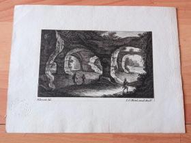 1770年铜版蚀刻《大师雕刻景观:田园风光与人物》-- 出自18世纪著名法国风景画家,Jean Baptiste Pillement (1728-1808)的绘画作品 -- 雕刻师:Johann Georg Hertel the Elder(德国,?-1780) -- 后附卡纸22*16.5厘米,版画纸张15*9.5厘米 -- 带有皇家印章