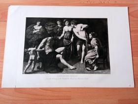 1892年铜凹版腐蚀《赫拉克勒斯与翁法勒》(HERCULES AND OMPHALE)-- 出自17世纪意大利画家,亚历山德罗·图尔奇(Alessandro Turchi,1578–1649)油画 -- 赫拉克勒斯因害死伊菲托斯而被卖给吕狄亚女王翁法勒做奴隶,她给赫拉克勒斯穿上妇女的衣裙,强迫他和女仆们一起纺纱织布 -- 选自传奇史诗《特洛伊战争》-- 维也纳艺术画廊出版 -- 版画42*28厘米