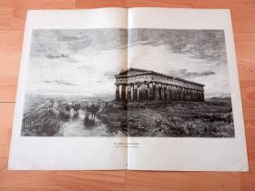 1881年超大木刻版画《风景画:夕阳下的帕埃斯图姆神殿》(Der Ruinen von Paestum)-- 帕埃斯图姆是位于意大利那不勒斯以南70多公里西海岸的古老城市遗址,保留有十分珍贵的陶立安式古希腊神庙和建筑,该城最初是建于公元前6世纪的希腊殖民地;帕埃斯图姆有三座宏伟的多利安式神殿:赫拉一世神殿;海王星神殿和最大的罗神神殿,均建于公元前5至6世纪 -- 版画纸张57.5*42厘米