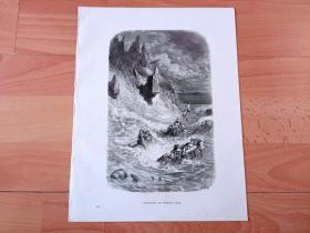 1883年木口木刻版画《辛巴达的冒险:海中遇险》(STRANDING OF SINBAD'S SHIP)-- 出自19世纪著名法国版画家、雕刻家和插图作家,古斯塔夫·多雷(Gustave Doré,1832-1883)的绘画作品 -- 取材阿拉伯民间故事集《一千零一夜》(天方夜谭)中的《辛巴达的冒险》,描绘了著名阿拉伯航海家辛巴达的冒险经历 -- 版画纸张31*24厘米