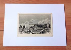 1882年木刻版画《美国工业中心:密歇根湖畔的芝加哥》(Chicago)-- 美国伊利诺伊州首府芝加哥,位于美国密歇根湖的南部,是美国第三大城市,也是世界的国际金融中心之一 -- 选自《风景如画的美国》 -- 后附卡纸30*21厘米,版画纸张17*12厘米