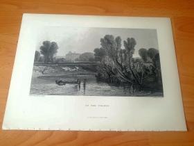 【透纳】1880年钢版画《温莎的泰晤士河》(ON THE THAMES)-- 出自19世纪英国著名浪漫主义风景画家,西方艺术史最杰出的风景画家之一,威廉·透纳(William Turner,1775-1851)作于1807年的油画作品,藏于英国泰特美术馆 -- 该画描绘了泰晤士河的晨昏景象,寄托了田园牧歌式的怀旧情感 -- 选自透纳画廊 -- 版画36*27厘米