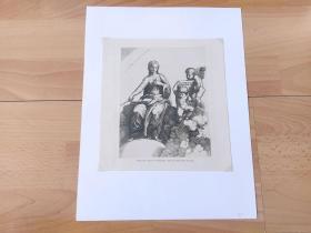 1883年铜版蚀刻《天使的教育》(Allegorische Figur der Philosophie)-- 出自文艺复兴时期,著名意大利版画家、雕刻大师,马尔坎托尼奥·雷梦迪(Marcantonio Raimondi,1480–1527)的铜版雕刻作品 -- 维也纳艺术画廊出版 -- 后附卡纸32*25厘米,版画纸张20.5*19厘米