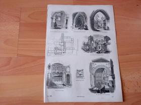 【老地图】1845年木刻版画《英国中世纪宗教建筑艺术:圣巴塞洛谬教堂与建筑平面图,英国伦敦》(St Bartholomew's Church)-- 圣巴塞洛谬大教堂是建于1123年亨利一世时期的诺曼风格教堂,曾经是英国伦敦最著名的闹鬼之地;在中世纪,这里是格斗、集会和公开处决的地方,为苏格兰独立而战的威廉·华莱士于1305年在这里被处决;-- 选自《老英格兰137》-- 版画纸张36*25厘米