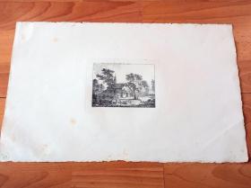 1778年铜版蚀刻版画《森帕赫战役纪念教堂》(Capelle auf dem Schlacht Feld bey Sempach)-- 选自著名瑞士诗人和画家,所罗门·格斯纳(Salomon Gessner,1730–1788)的田园诗系列作品 -- 森帕赫位于瑞士卢塞恩州,1386年在此爆发森帕赫战役,瑞士联邦军队战胜奥地利哈布斯堡家族军队,成为巩固独立的决定性战役 -- 版画纸张43*25厘米