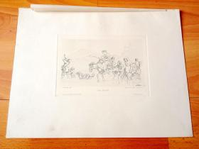 """1884年铜凹版腐蚀版画《渡溪》(DIE FURTH)-- 出自19世纪著名德国画家、插图画家和版画家,路德维希·里克特(Ludwig Richter,1803-1884)的""""白描""""作品,作品墨色淡,线条细如发丝 -- 奥地利维也纳艺术画廊出版 -- 版画纸张38*29厘米"""