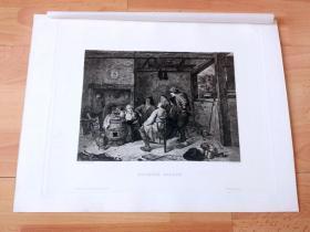 1884年铜版蚀刻版画《音乐会》(SINGENDE BAUERN)-- 出自17世纪著名佛兰德斯风俗画家,荷兰美术流派的创立者,阿德里安·布鲁维尔(Adriaen Brouwer,1605-1638)作于1635年的油画,藏于慕尼黑老绘画陈列馆 -- 雕刻师:Peter von Halm(1854–1923)-- 奥地利维也纳艺术画廊出版 -- 版画纸张38*29厘米