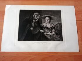 1892年铜凹版腐蚀《庭园之神威耳廷努斯与水果女神波莫娜》(VERTUMNES AND POMONA)-- 出自17世纪荷兰画家,艾尔特·德·戈德尔(Aert de Gelder,1645-1727) 油画,藏于布拉格国立美术馆 -- 威耳廷努斯是希腊神话中掌管四季变化、庭园之神,水果女神波莫娜是威耳廷努斯之妻 -- 选自传奇史诗《特洛伊战争》-- 维也纳艺术画廊出版发行 -- 版画42*28厘米