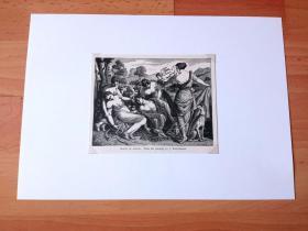 【卢浮宫名画】19世纪木刻版画《文艺复兴大师作品:阿多尼斯之死》(DEATH OF ADONIS)-- 出自文艺复兴时期德国,Hans Rottenhammer(1564–1625)油画 -- 美少年阿多尼斯是爱神阿芙罗狄德的情人,因此遭到战神阿瑞斯的妒忌,在打猎中死去;画中间的男子是阿多尼斯的尸体,左边是美惠三女神中的一位扶着晕过去的维纳斯 -- 后附卡纸30*21厘米,版画14*11.5厘米