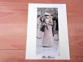 19世纪套色锌板版画《冬日的玫瑰》(Ein Debut)-- 后附卡纸30*21厘米,版画纸张25*12厘米