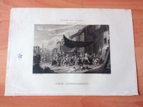 1821年铜版画《资本主义的萌芽与发展:繁华的乡村集市》(DER JAHRMARKT)-- 出自17世纪荷兰黄金时代著名风景画家,彼得·范·拉尔(Pieter van Laer,1599-1642,别名Bamboche)油画作品 -- 维也纳美景宫画廊出版 -- 版画纸张26*18厘米