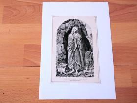 19世纪木刻版画《文艺复兴大师作品:忏悔的抹大拉玛利亚》(Bussende Heilige Magdalena)-- 出自文艺复兴意大利画家、拉斐尔的启蒙老师,蒂莫泰奥·维蒂(Timoteo Viti,1469-1523)的油画,藏于博洛尼亚历代大师画廊 -- 抹大拉的玛利亚一直以被拯救的形象出现,是主在世间最亲密的信仰伴侣 -- 后附卡纸30*21厘米,版画纸张20.5*14厘米