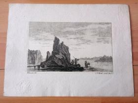 1770年铜版蚀刻《大师雕刻景观:风景》-- 出自18世纪著名法国风景画家,Jean Baptiste Pillement (1728-1808)的绘画作品 -- 雕刻师:Johann Georg Hertel the Elder(德国,?-1780) -- 后附卡纸22*16.5厘米,版画纸张15*9.5厘米 -- 带有皇家印章