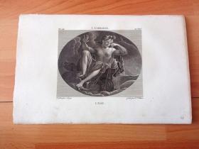 1814年铜版画《水车旁的宁芙仙女》(L'EAU)-- 出自文艺复兴时期著名意大利巴洛克画家,卢多维科·卡拉奇(Lodovico Carracci,1555–1619)油画,藏于法国巴黎卢浮宫 -- 宁芙仙女出没于山林、水泽、泉水、大海等地,是自然幻化的精灵,一般是美丽的少女的形象;画作描绘了宁芙仙女在水车旁纺纱的场景 -- 选自《法国博物馆藏画集,编号123》-- 版画纸张27*17.5厘米