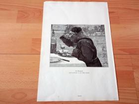 """1884年大幅木刻版画《""""七宗罪""""之贪食者》(Der Gourmand)-- 出自19世纪瑞典画家,卡尔·古斯塔夫·赫尔奎斯特(Carl Gustaf Hellqvist,1851-1890)的油画作品 -- 版画纸张41.5*27厘米"""