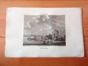 1814年铜版画《干草车》(LES FOINS)-- 出自17世纪荷兰黄金时代最成功、最有成就的马匹画家,菲利普斯·沃夫曼(Philips Wouwerman,1619-1668)的油画作品,藏于荷兰海牙莫瑞泰斯皇家美术馆 -- 凝聚了画家热爱质朴生活的情怀,选取农村生活中收干草的场景,展现了人与自然间诗意般的联系 -- 选自《法国博物馆藏画集,编号99》-- 版画纸张27*17.5厘米