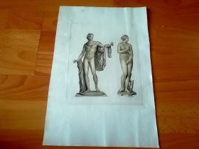 1816年美柔汀铜版画《古希腊人体雕塑经典:1. 望楼上的阿波罗(人体美之典范,是古希腊雕刻,家莱奥卡雷斯﹝Leochares﹞公元前4世纪的代表作,藏于梵蒂冈博物馆);2. 美第奇的维纳斯(公元前一世纪罗马时期仿制的古希腊风格的大理石雕像,被拿破仑掠至卢浮宫)》(L´Apollon du Belvedere et la Venus des Medicis)-- 手工润色,版画纸张38*26厘米