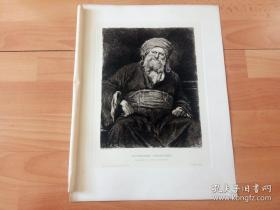 1885年铜版蚀刻版画《法庭上的法利赛人长老》(SITZENDER PHARISAER)-- 出自19世纪欧洲最具影响力的画家之一,米哈伊·蒙卡奇(Mihály Munkácsy)的油画作品,出自其代表作《彼拉多面前受审》 -- 奥地利维也纳艺术画廊出版 -- 版画纸张38.5*29厘米