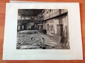 1884年铜凹版腐蚀《艺术大师汉斯·马卡特的画家工作室(维也纳一座废弃铸造厂内)》(MALERSAAL(Im Hoftheaterdepot))-- 汉斯·马卡特(Hans Makart,1840-1884),奥地利学院派历史画家、设计师,影响维也纳高雅文化圈的名流 -- 维也纳艺术画廊出版 -- 版画纸张39*29厘米